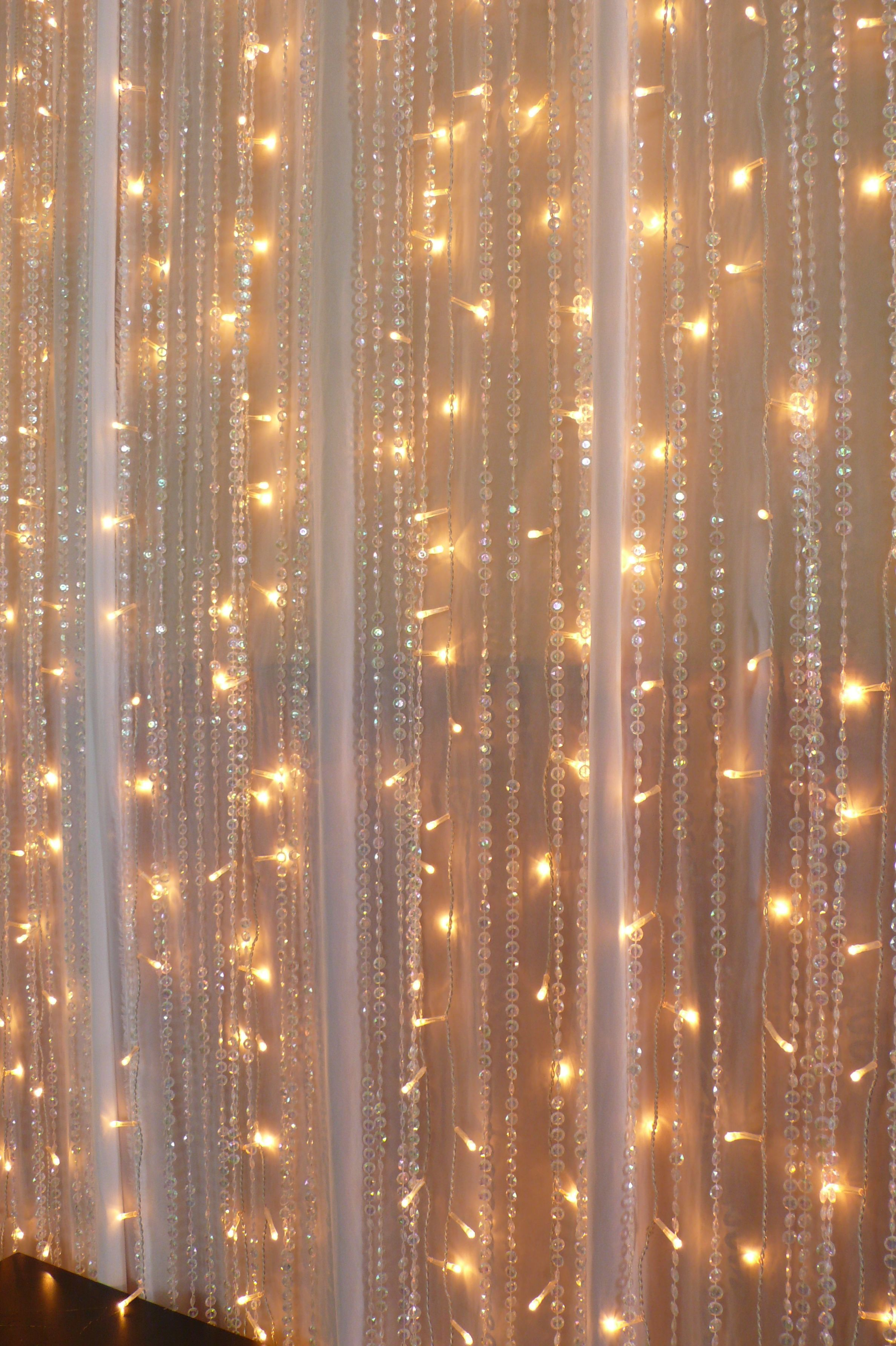 Diy Wedding Backdrop With Lights Chiffon Fairy Lights Beaded Crystal Curtains Real