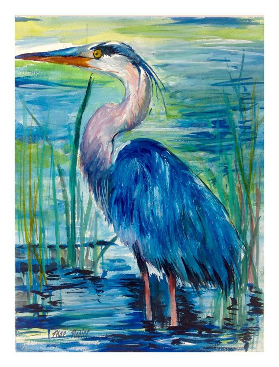Blue Heron Watercolor By Coastalwatercolor On Etsy Crafts And