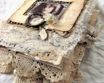 Handmade Vintage Journal - Melody of Love - Keepsake, Heirloom, Junk Journal, Wedding Album, Art Journal, Mixed Media Book, Romantic, Shabby