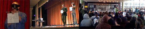 Montage of images from my college mentalist shows.