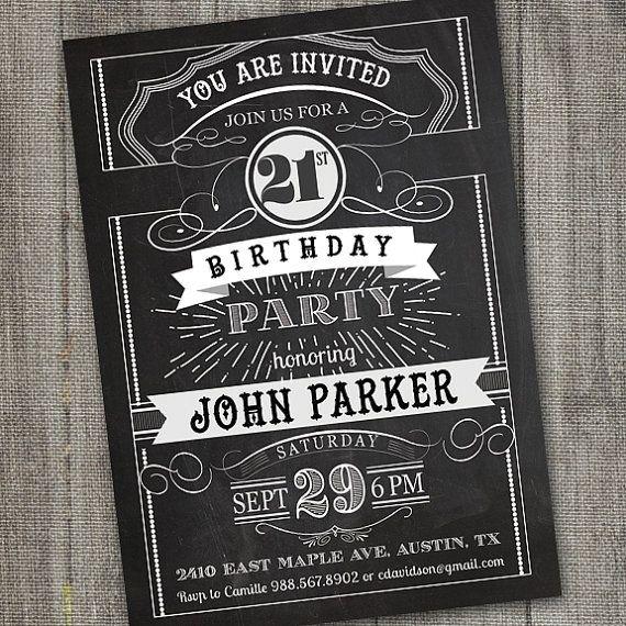 Chalkboard Birthday Invitation For Adult 21st Birthday Invitation For Guys 21st Birthday Invitation Male 18th Birthday Invitation Boy 21 Cumpleanos 21 Invitaciones Invitaciones De Cumpleanos Imprimibles