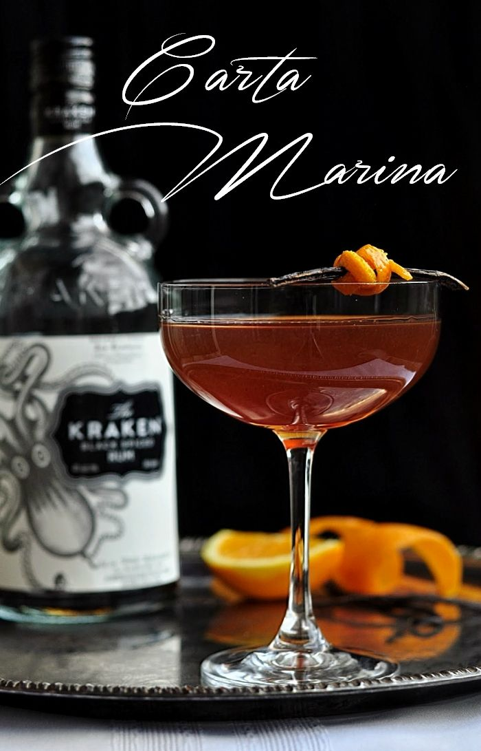 Carta Marina Cocktail: spiced rum, vanilla, orange. With Kraken black rum, Licor 43, Aperol. #cocktail