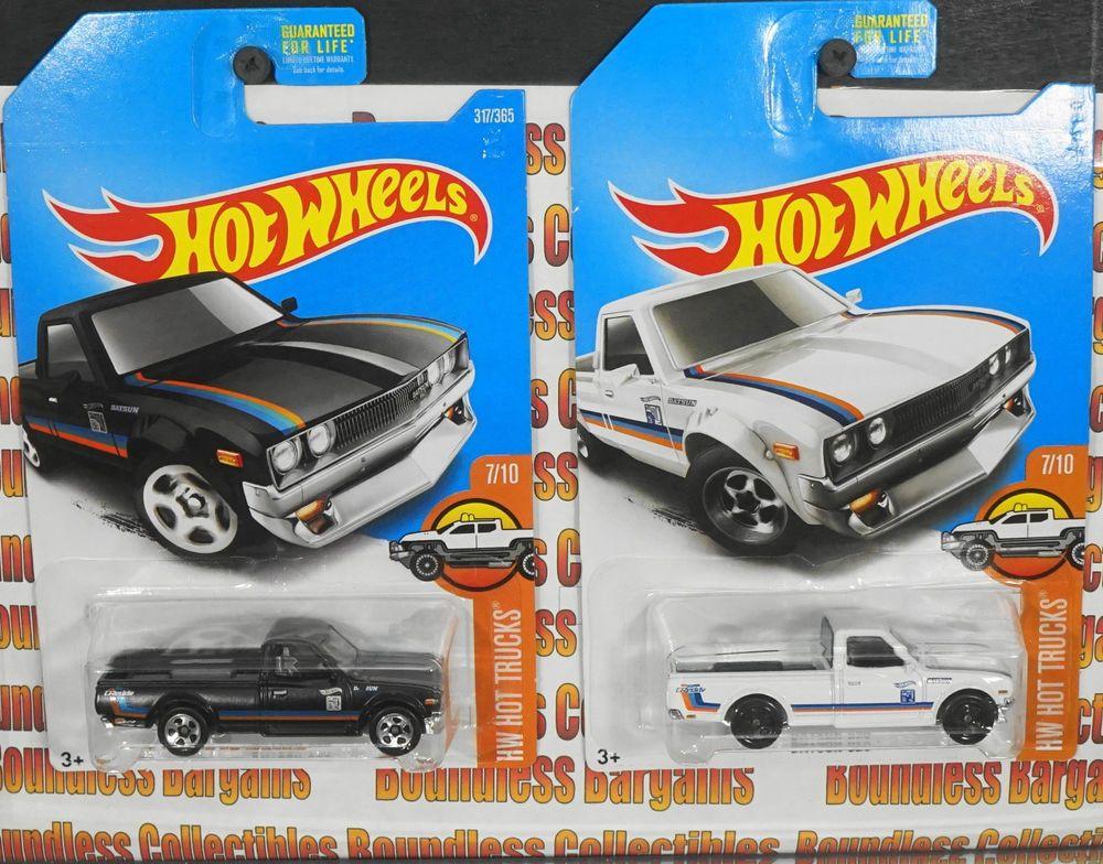 Hot Wheels Lot Of 2 2017 Datsun 620 Pickups Black White Hw Hot