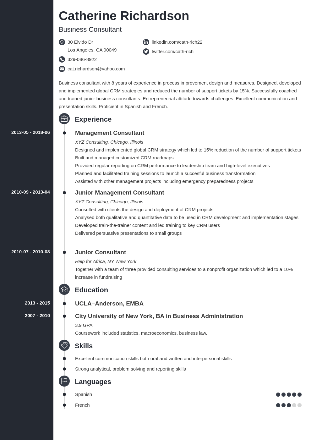 Consultant Resume Example Template Concept Resume Examples Job Resume Examples Resume