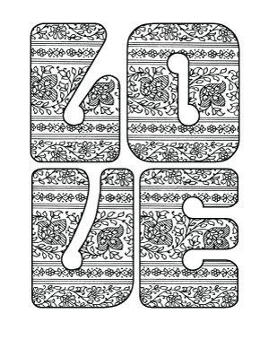 love paisley retro lettering adult coloring page
