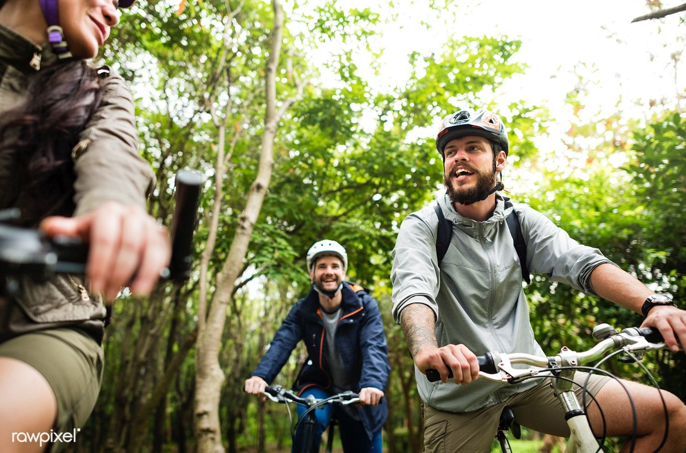 Download Premium Image Of Group Of Friends Ride Mountain Bike In