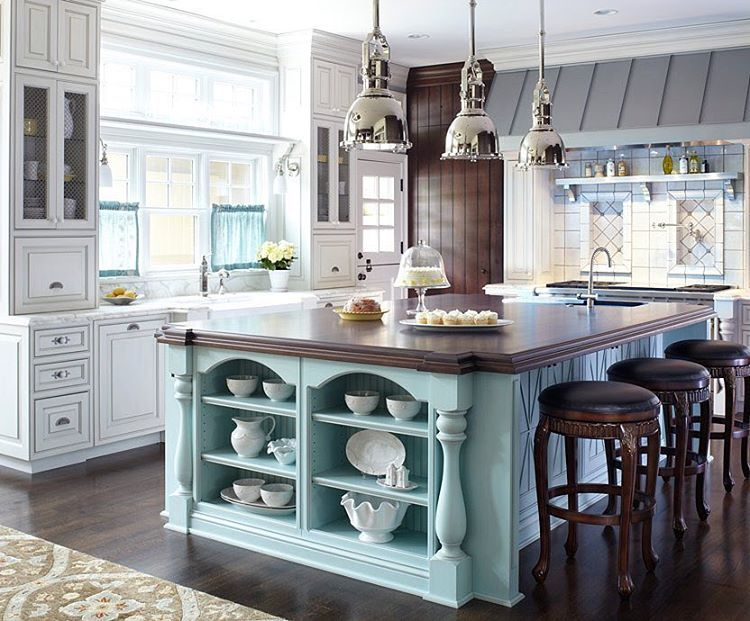 Traditional Home On Instagram This 10x6 Foot Kitchen Island Excels In Color And Stora Cottage Kitchen Inspiration French Cottage Kitchen Kitchen Inspirations