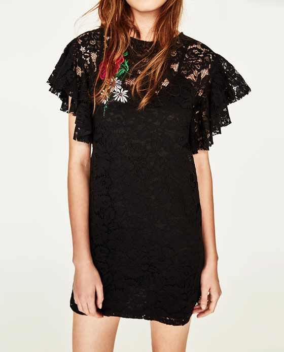 240198a7 Image 3 of LACE DRESS WITH PATCH from Zara | LBD | Lace Dress ...