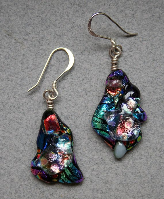 Dichroic Glass Dangle Earrings - with Sterling Silver Ear Wires, Black, Blue, Red, Opal, Purple, Green