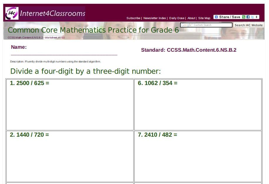 Worksheets/Printables Available: 6th Grade: Divide a four-digit by a ...