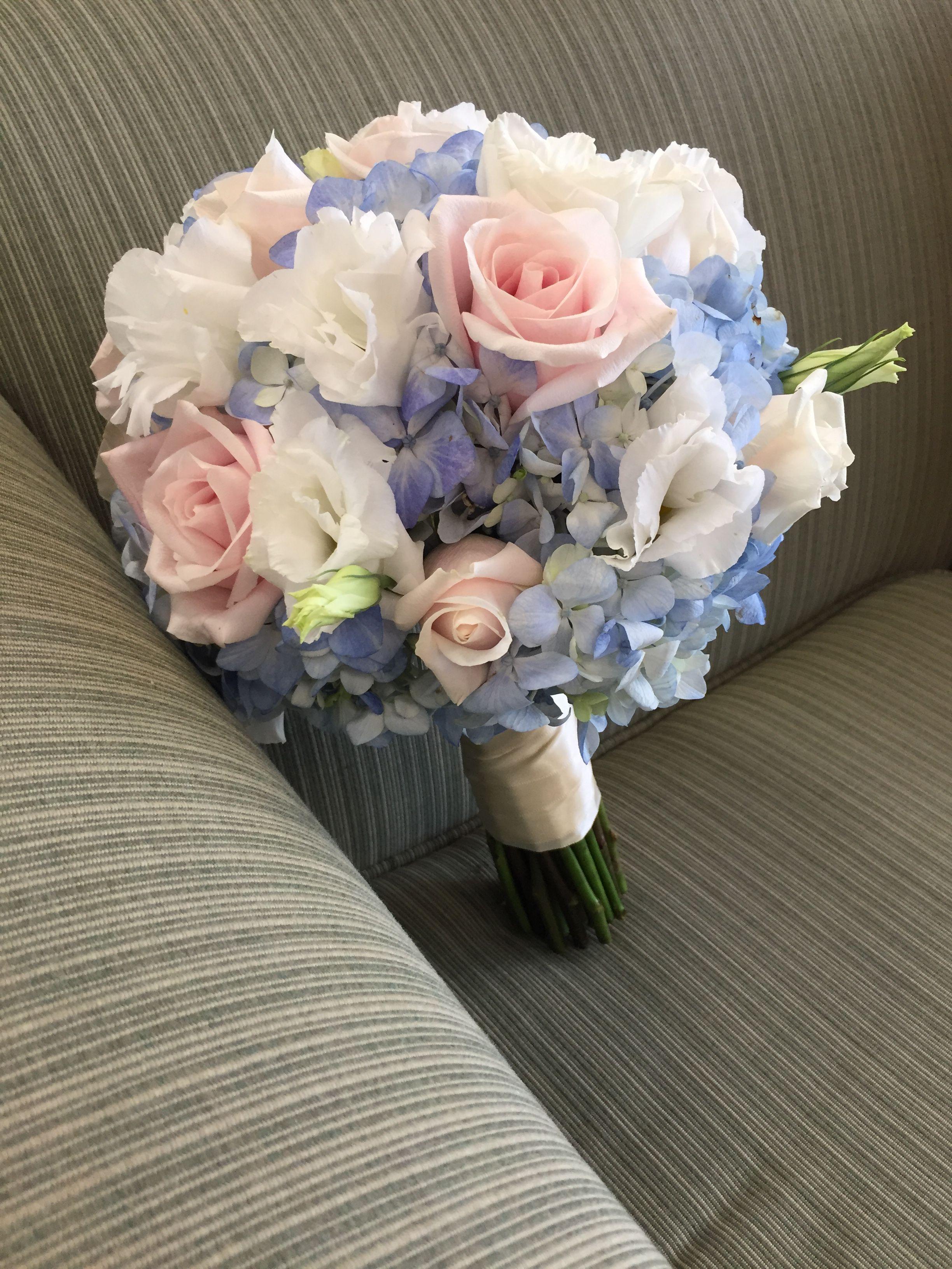 Soft Pink Rose Baby Blue Hydrangea White Lisianthus Wedding Bouquet
