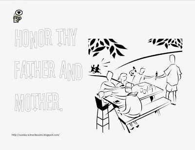 More 10 commandment coloring pages commandment number for Honor your father and mother coloring page