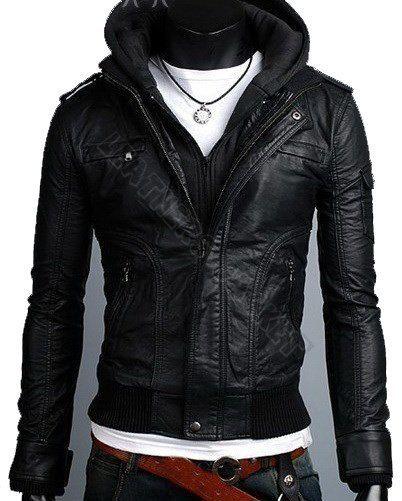Men handmade black hooded biker leather jacket, men black hooded ...