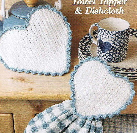 HEART Towel TOPPER And DISHCLOTH - Kitchen Crochet Pattern | Tejido ...