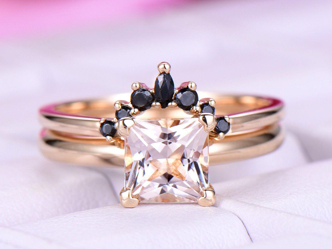 Princess Morganite Engagement Ring  Sets Black Onyx Tiara Ring 14k Yellow Gold 6.5mm – 5.5 / 14K Rose Gold
