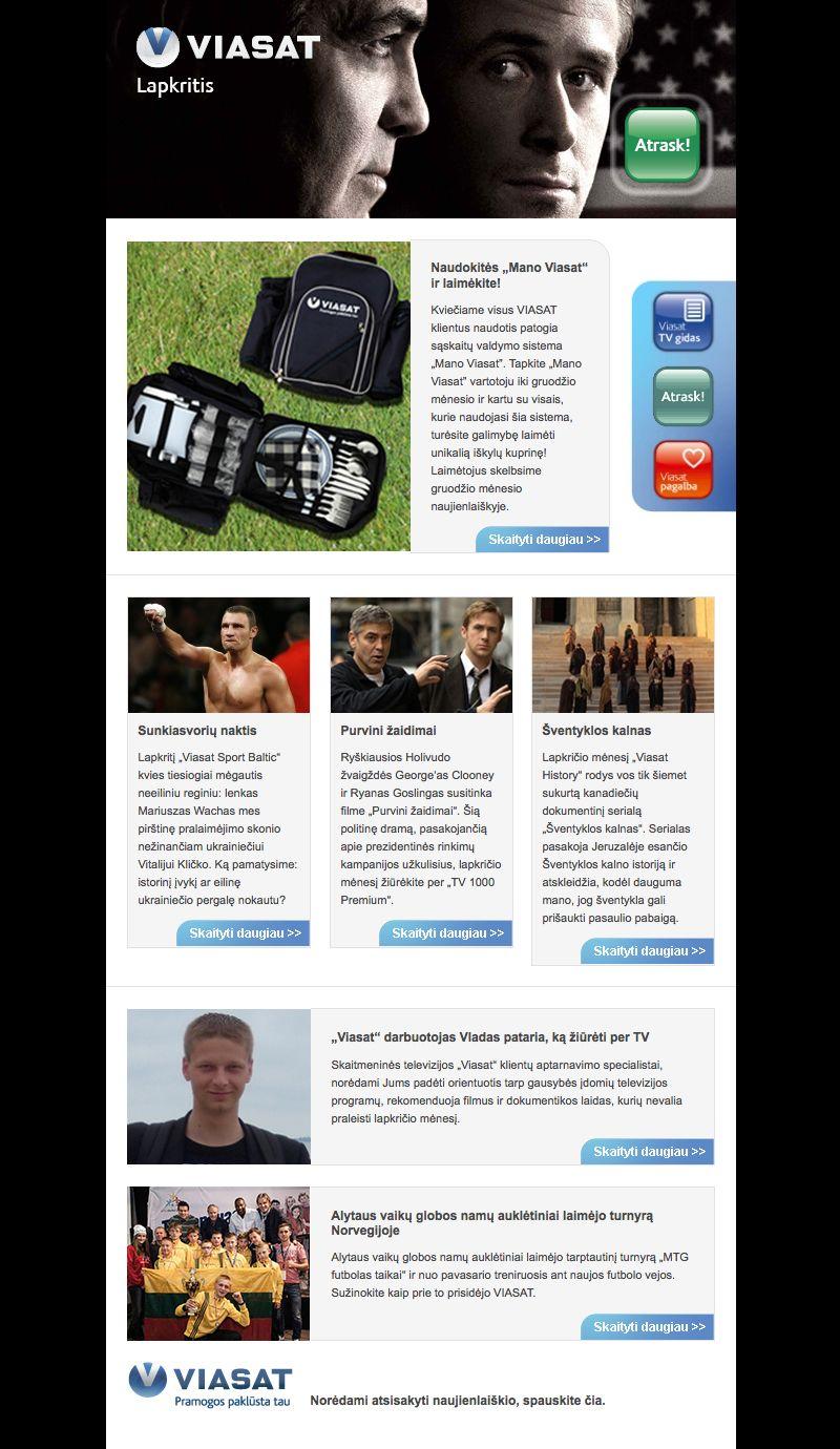 Viasat | Best Lithuanian Newsletters | Newsletter design, Design