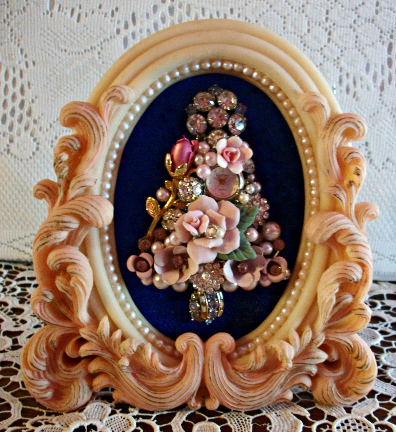 Vintage Jewelry Framed Christmas Tree by Moondiamonds on Etsy  SOLD!