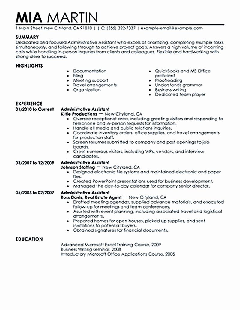 Executive assistant Resume Summary Unique Administrative