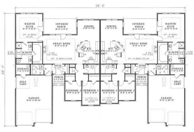 3 bedroom duplex floor plans house plans and home plans for Ranch style duplex plans