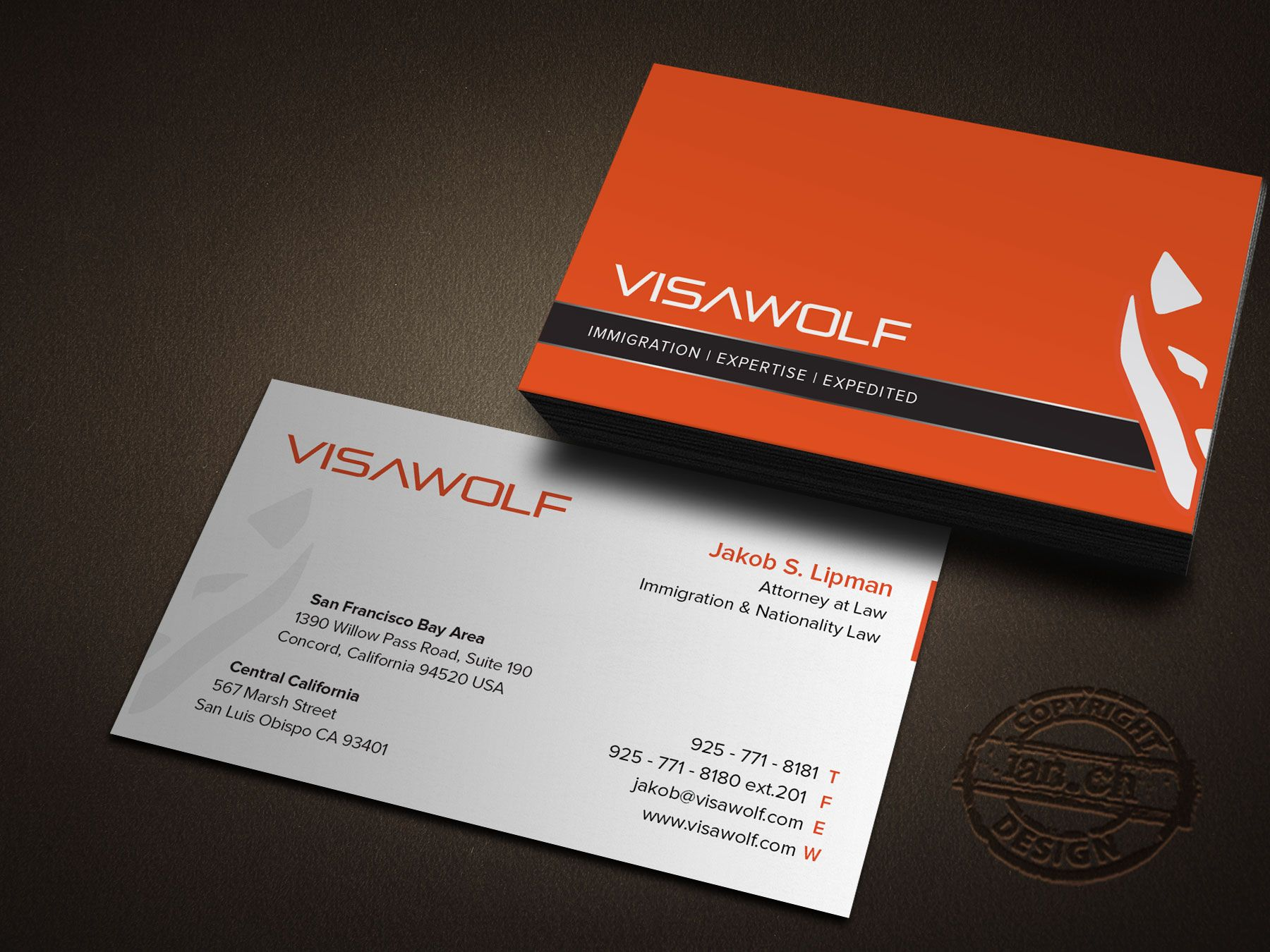 designs compose cards and stationary for immigration law firm with