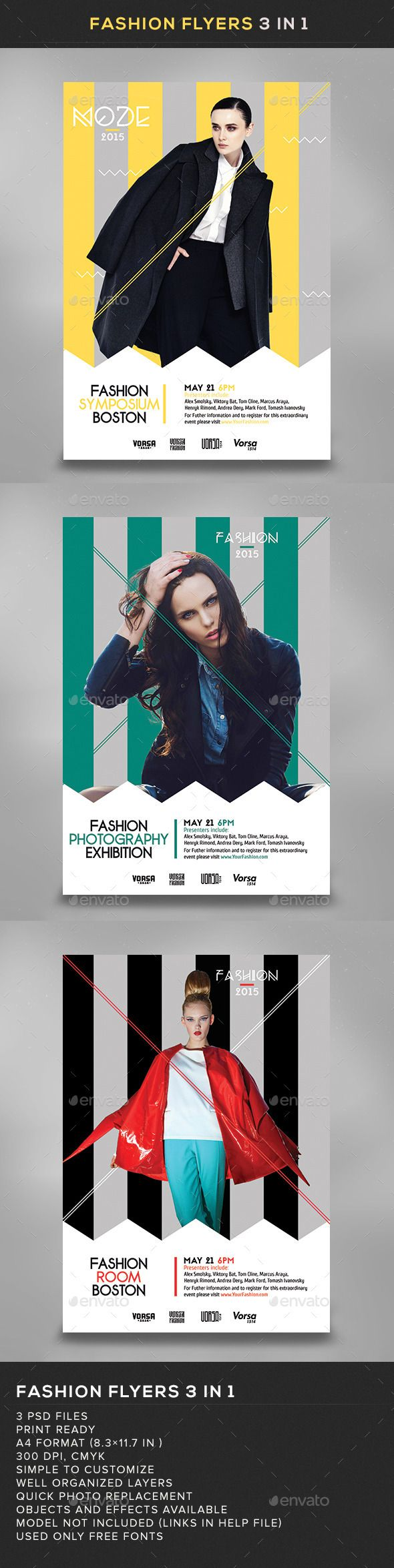 Fashion Flyers 3 In 1 Fonts Flyer Design Templates And