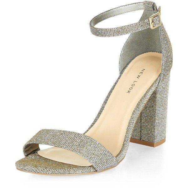 New Look Gold Glitter Ankle Strap Block Heels 23 Liked On Polyvore Featuring Shoes Pumps Gold Gold Glit Ankle Strap Block Heel Gold Glitter Shoes Heels