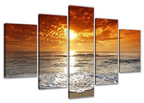 Visario 6311 Bild auf Leinwand Strand fertig gerahmte Bilder 5 Teile