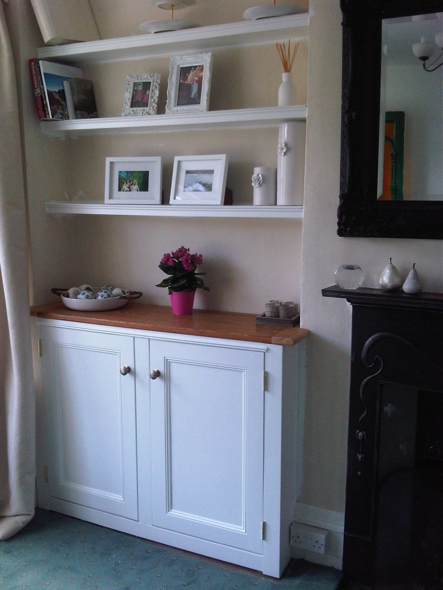 Alcove cabinet reclaimed pine timber top www ...