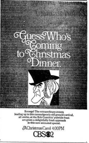 Here is the debut of the animated special of A Christmas Carol. aired on December 13, 1970 ...