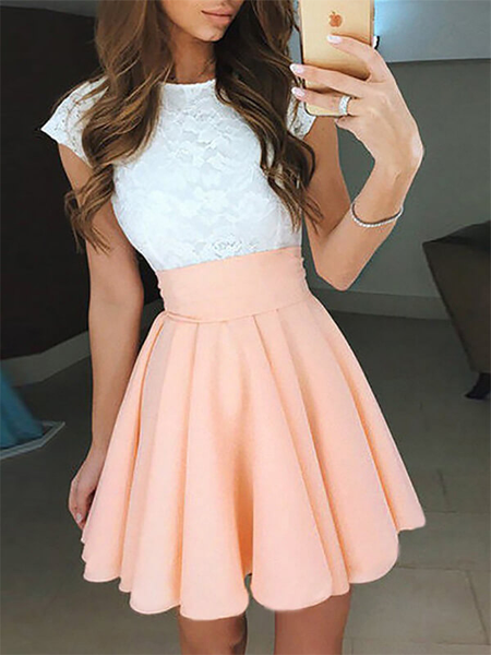 Simple Cap Sleeve Lace Top Open Back A Line Short Homecoming Dress, BTW165 #dresses