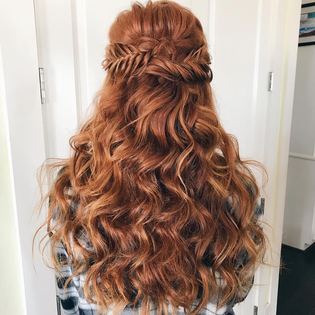 Wedding hairstyles fishtail half up half down hairstyle bridal