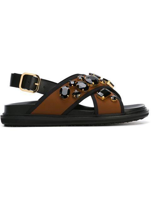 b95b5e9c5e8fb3 MARNI  Fussbett  Embellished Sandals.  marni  shoes  sandals