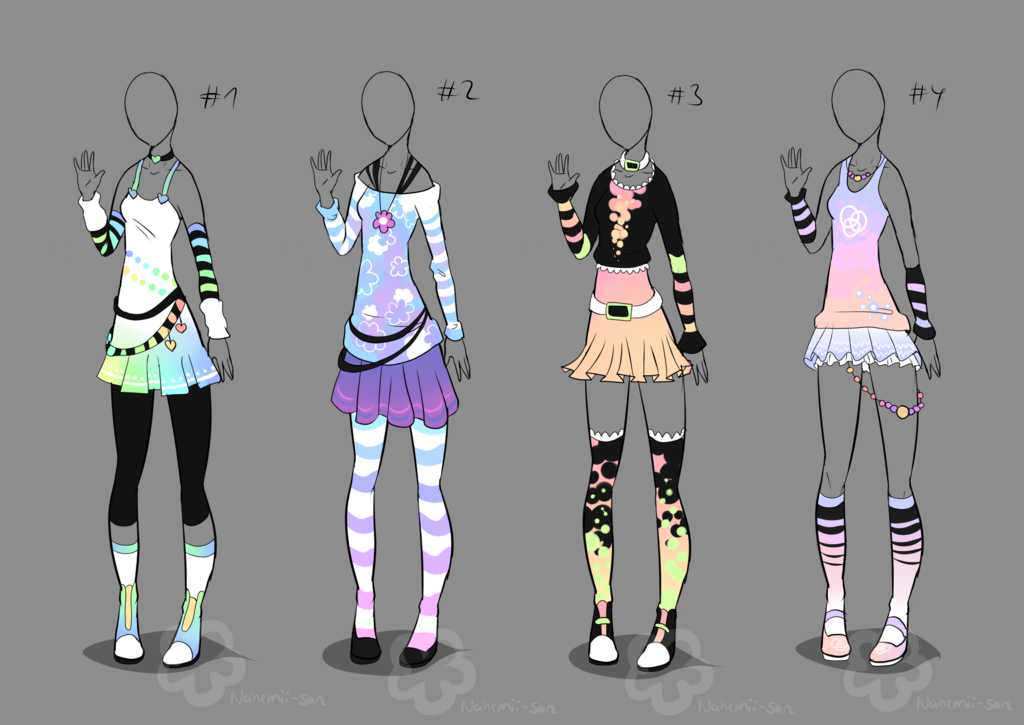 Pastel Outfit Adopts - sold by Nahemii-san.deviantart.com on @deviantART