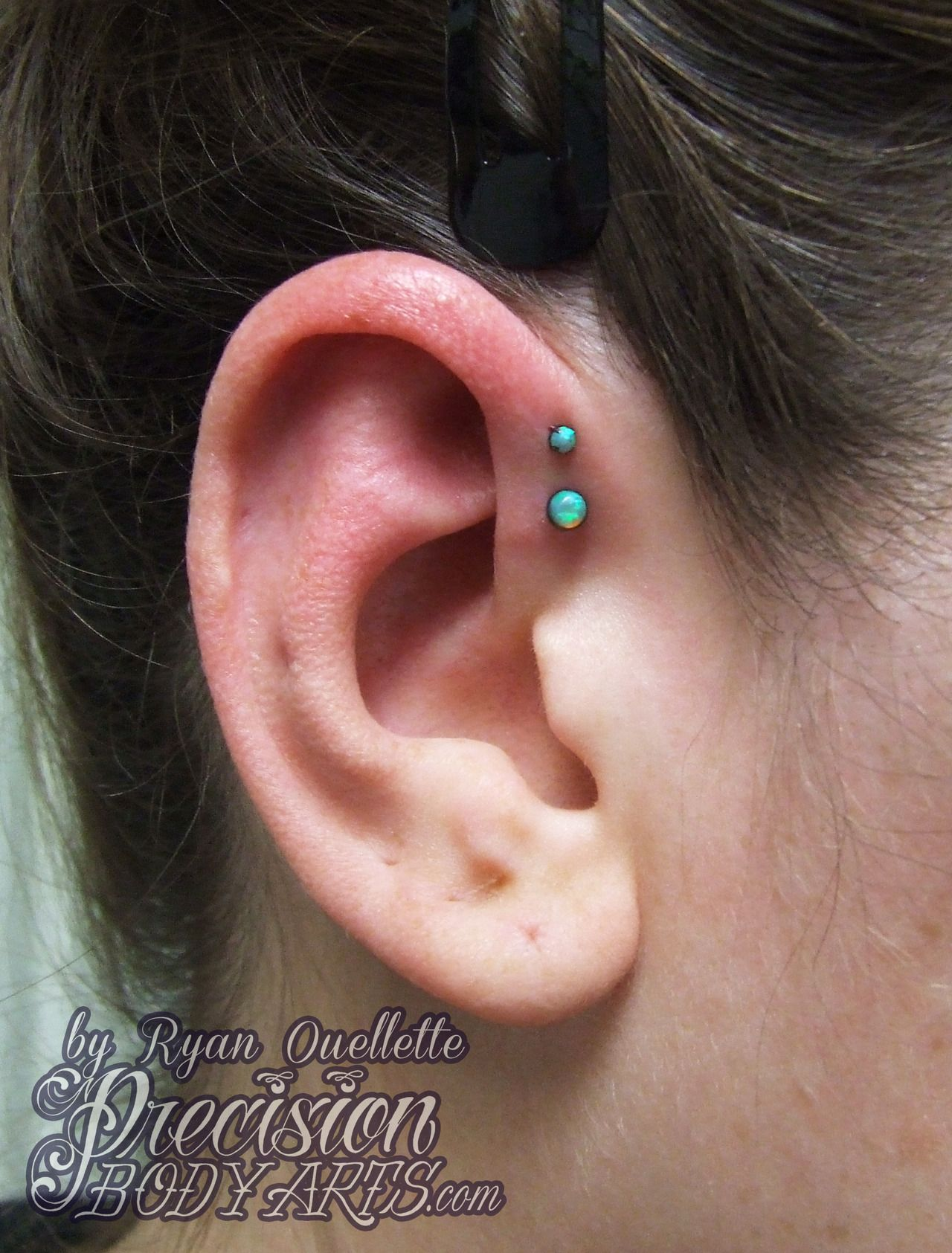 Empty nose piercing  Double forward helix with Neometal lime green opals Piercing by