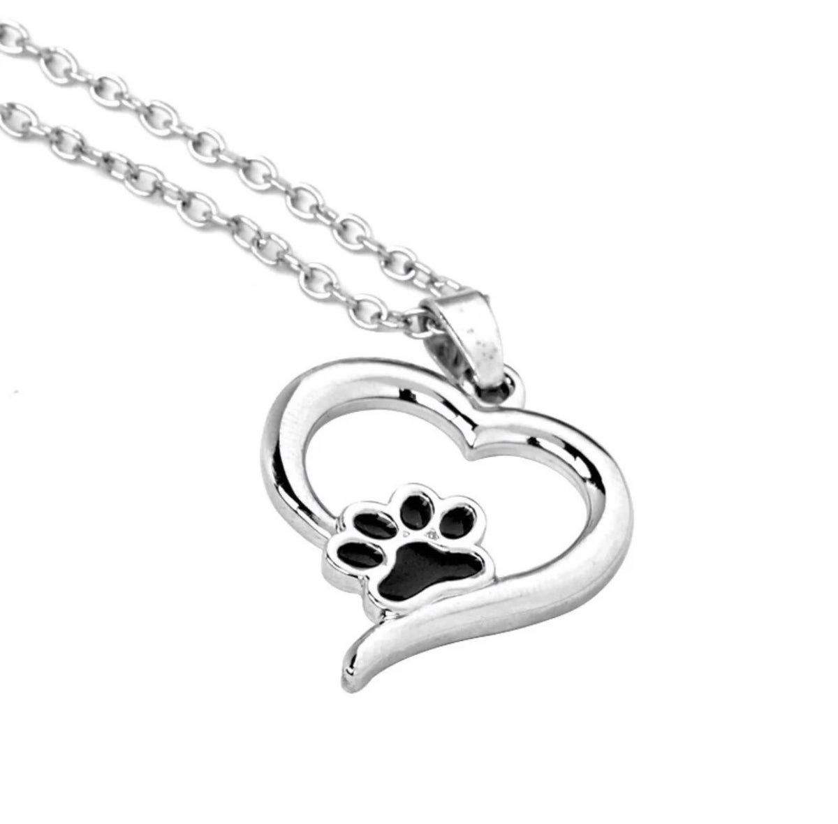 Silver Charm Cute Pet Dog Cat Paw Print Pendant Love Heart Necklace Chain Women