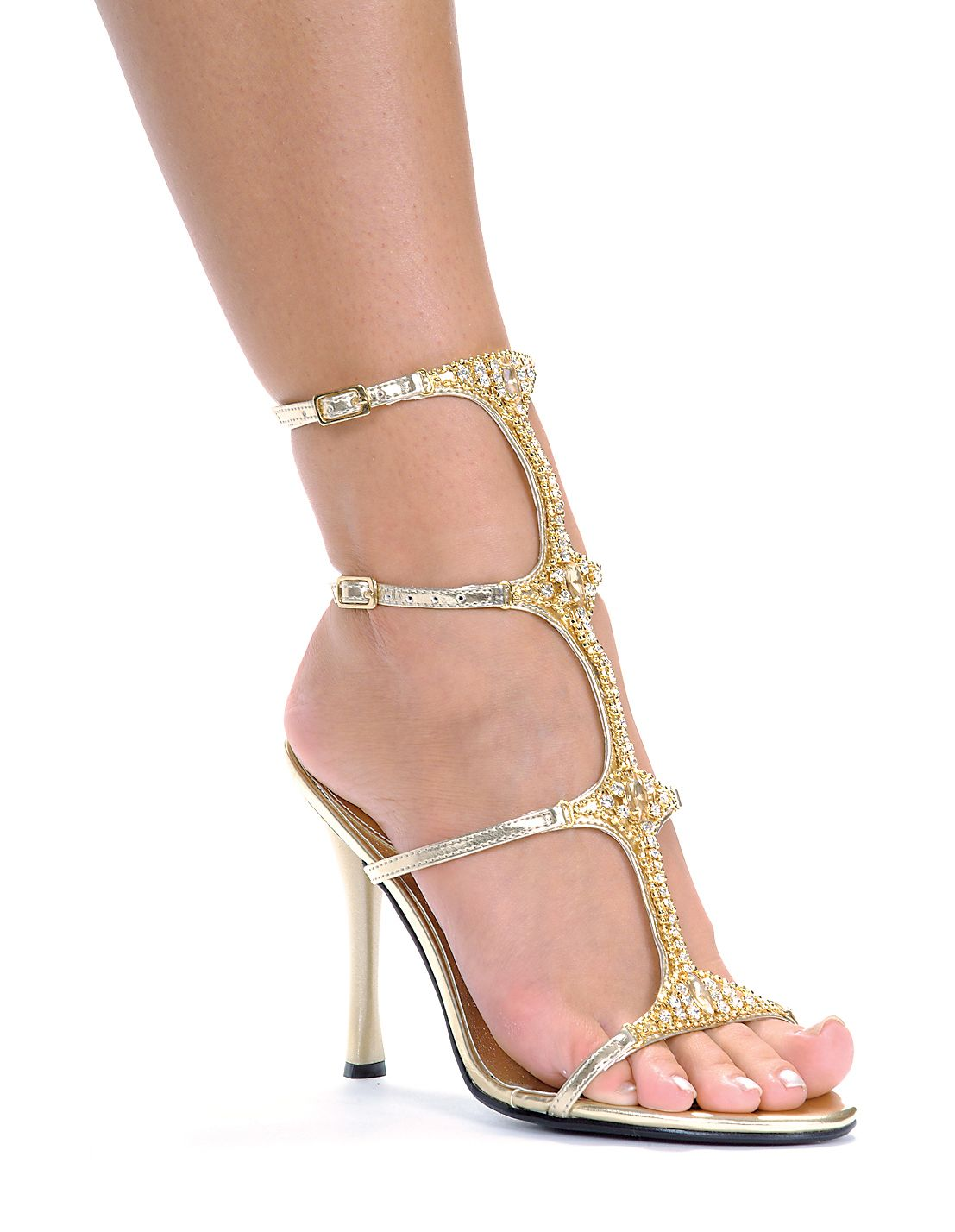 d9c7ae87fa256 Ankle high gladiator style strappy sandals with rhinestones and jewel detail  and 4 1 2 inch heels