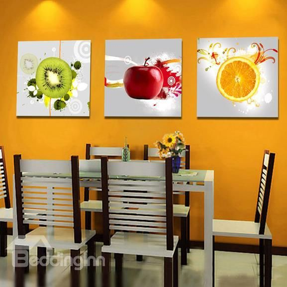 New Arrival Modern Style Colorful Fruits Print 3 Piece Cross Film Wall Art Prints Modern Kitchen Wall Decor Fruit Kitchen Decor Kitchen Wall Hangings