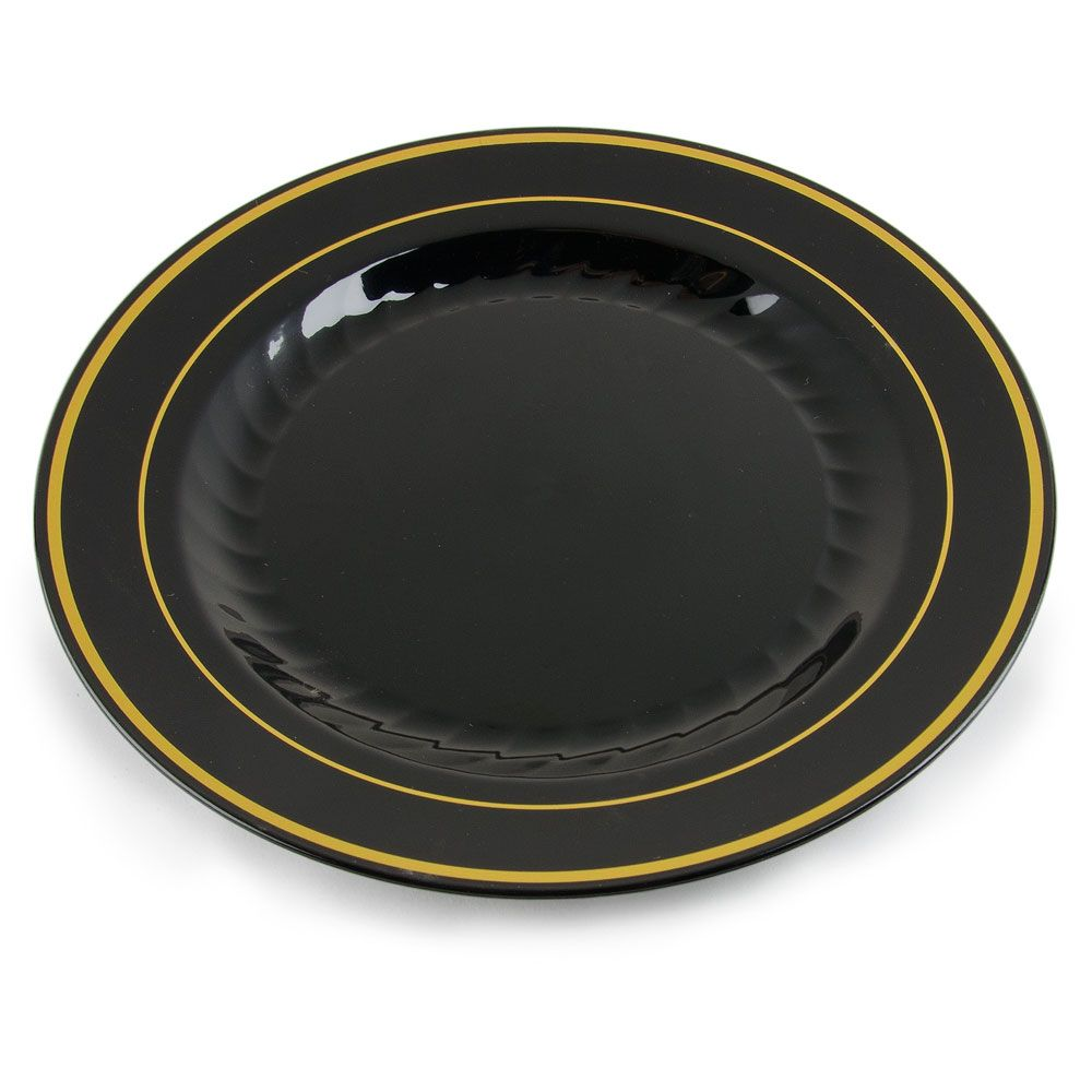Fineline Gold Splendor 506BKG Black 6 inch Plastic Plate with Gold Bands - 15 / PK  sc 1 st  Pinterest & Fineline Silver Splendor 506-BKG 6\