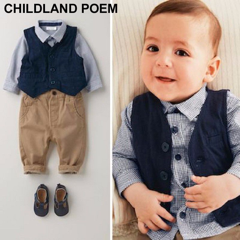 e03c5b1f2 baby boys clothing set 1 year birthday clothes kids infant gentleman ...