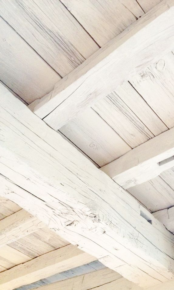 White Wood Beam Ceiling Blanc Shabby French Country