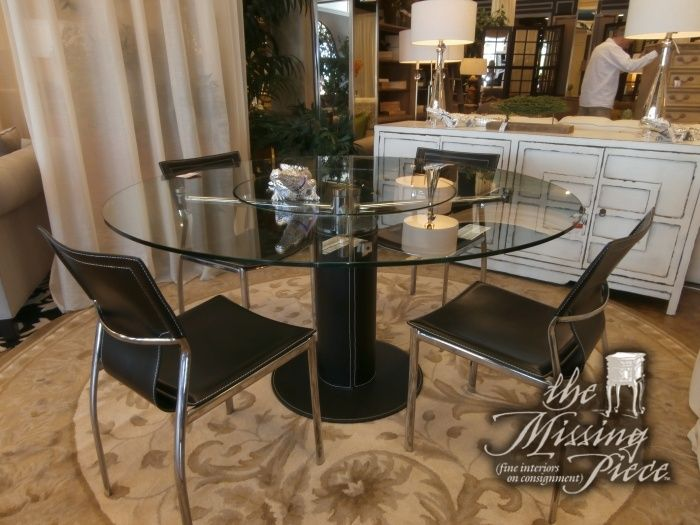 Modern Glass Top Dining Table With Center Built In Lazy Susan