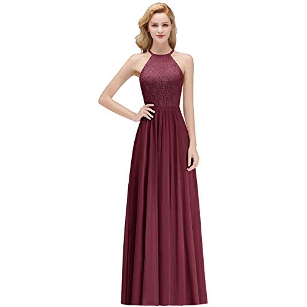 MisShow Damen Elegant Chiffon A-Linie Lang Abendkleider