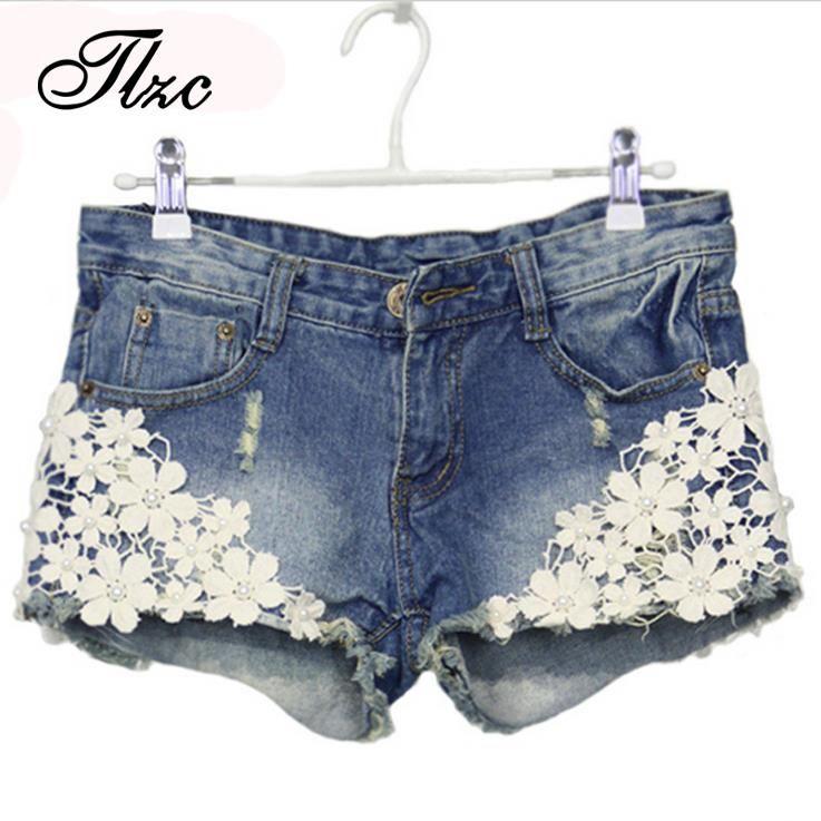 Trousers Picture More Detailed Picture About Tlzc Lace Floral Beading Women Wash Jeans Denim Shorts Size S 2xl Rivet De Shorts Con Encaje Shorts De Moda Ropa