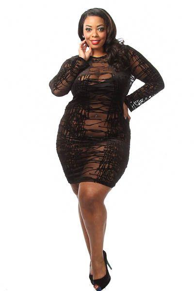 ce2300bb7f2 Plus size long sleeve mesh design mini dress