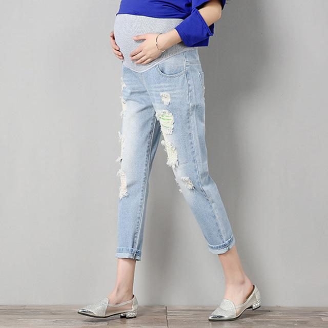 a3fb3b19cd7ed9 Jeans Maternity Pants For Pregnant Women Clothes Trousers Nursing Prop Belly  Legging Pregnancy Clothing Overalls Ninth Pants New