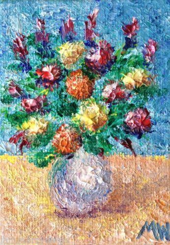 ACEO-ORIGINAL-OIL-finger-painting-FLOWERS-IMPASTO-IMPRESSIONISM-Art-by-Ward --- Winning bid: US $118.49 Approximately AU $134.80