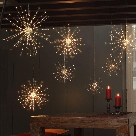 200 LED Fairy Lights , Hanging Copper Starburst LED Lights , String
