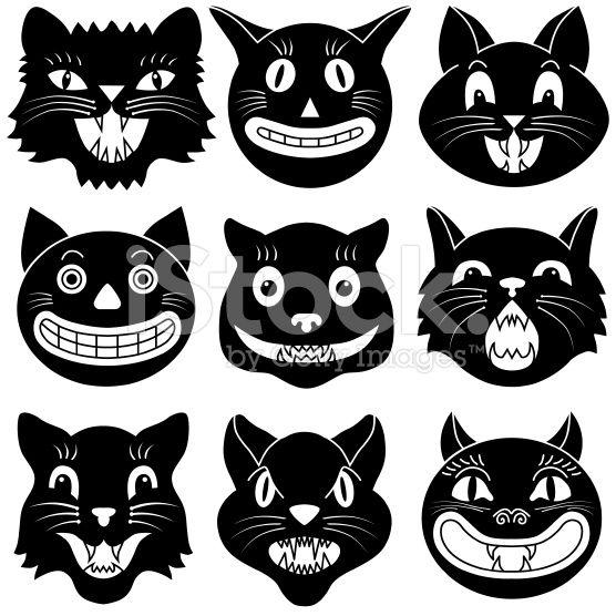Vector Illustrations Of Halloween Cat Heads Halloween Images Retro Halloween Halloween Cat