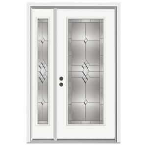 Jeld Wen 50 In X 80 In Full Lite Kingston Primed Steel Prehung Right Hand Inswing Front Door With Left Hand Sidelite H30753 The Home Depot Steel Entry Doors Jeld Wen Steel Doors