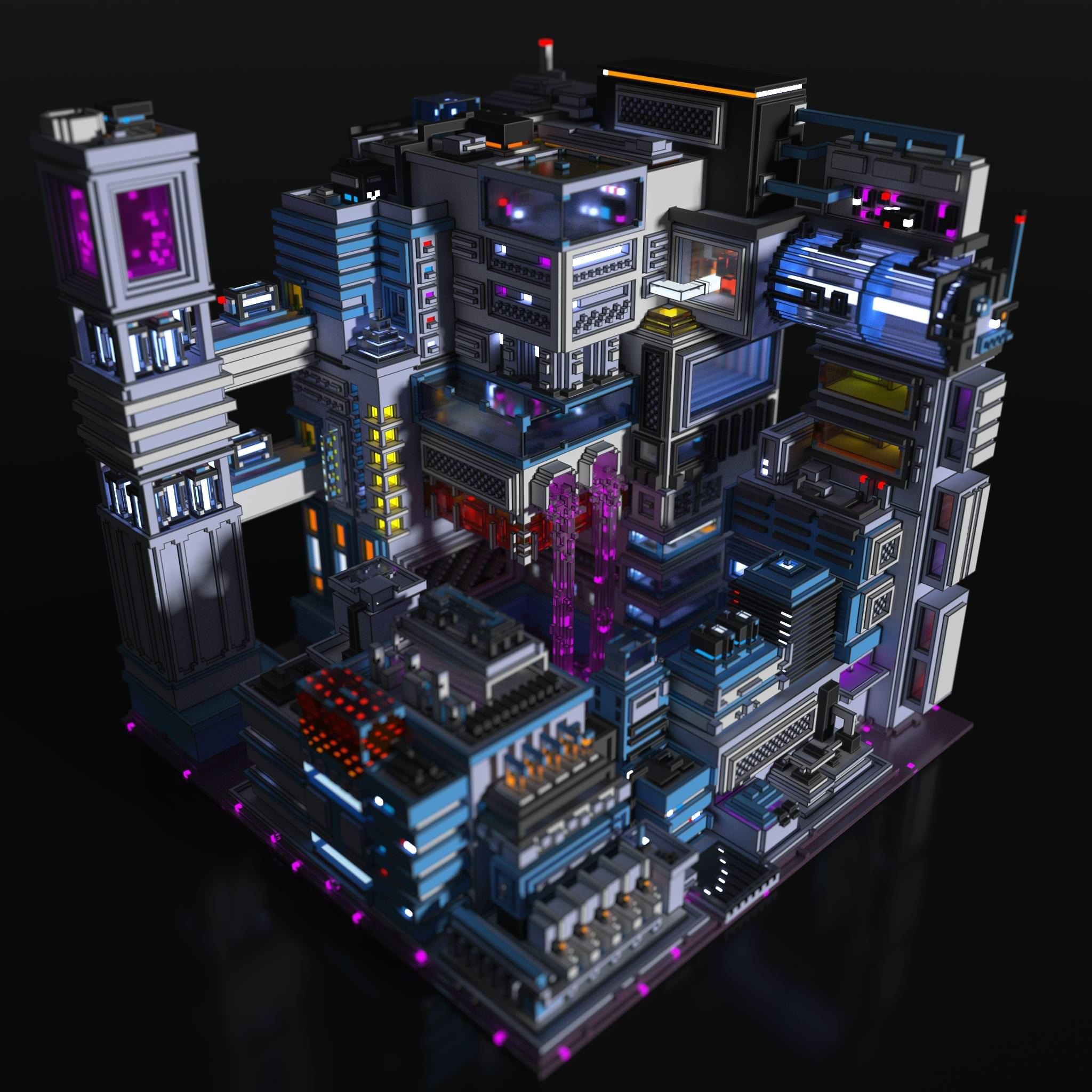 A Futuristic And Illogical Factory Thing That Processes Purple Goo Game Concept Art Scene Design Town Games
